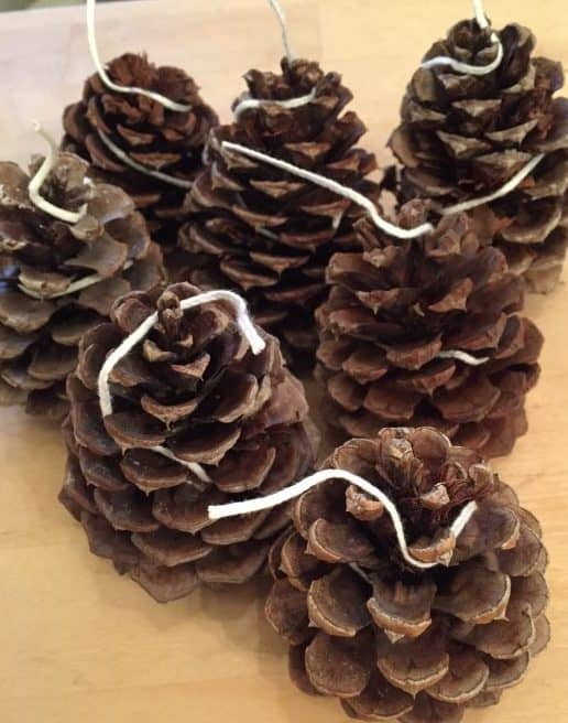 wrapping pine cones with wick