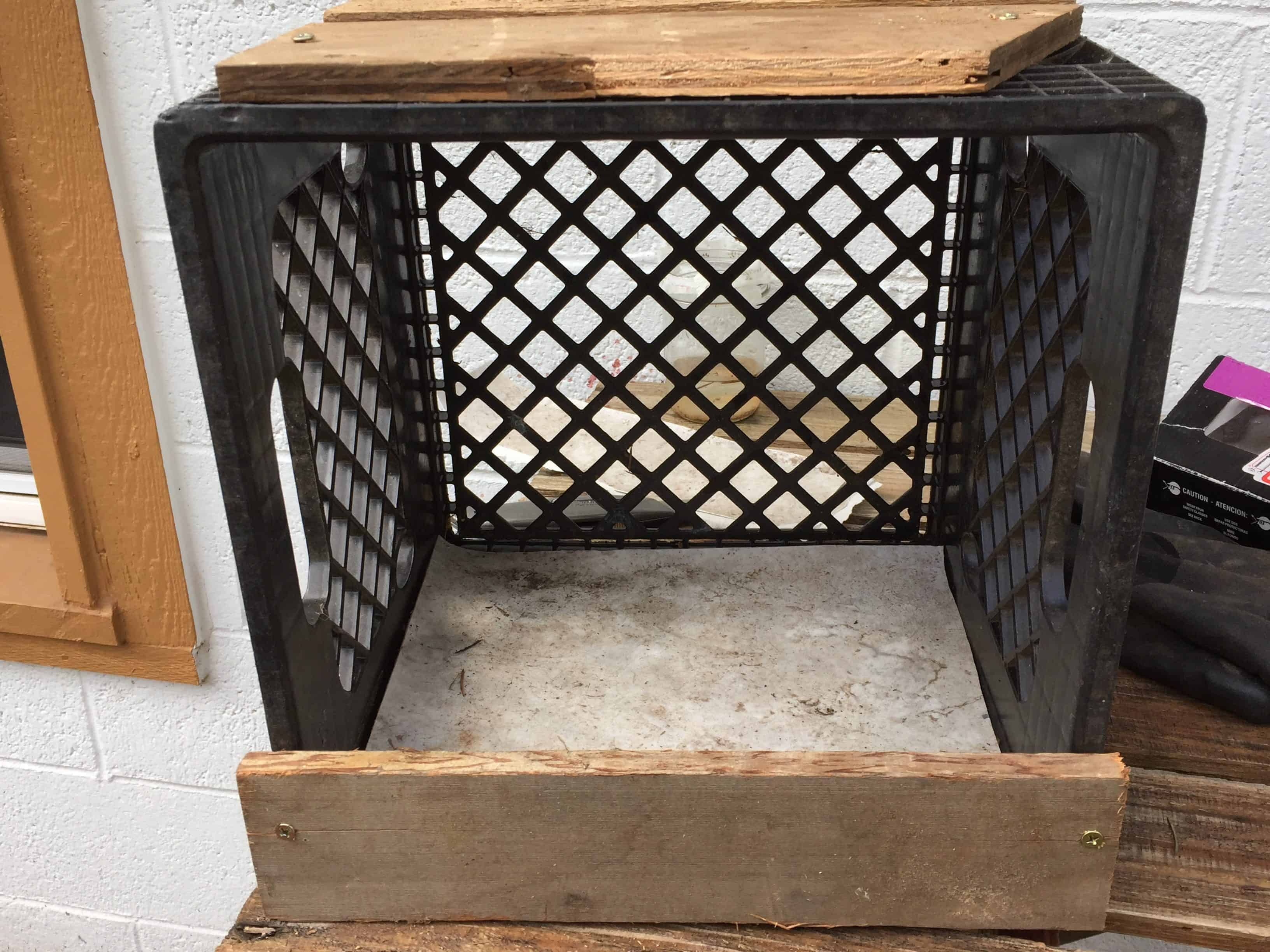 Make a nest box out of a milk crate in just a few minutes and a few scraps!