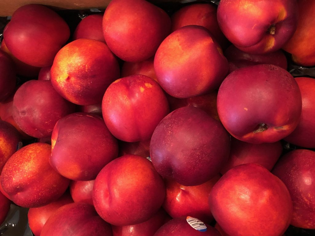 close up of fresh nectarines
